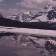 凍結湖水の融解水に映ったロッキー